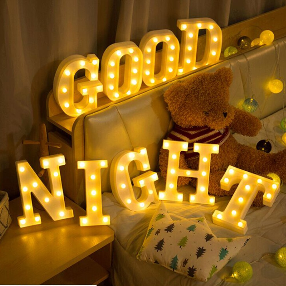 Kerong DIY LED Light up Wooden Alphabet Marquee Letter Lights for Festival Decorative Home Party Wedding Scene Holiday Birthday Christmas Valentine,Battery Operated Warm White (T) by Kerong (Image #6)