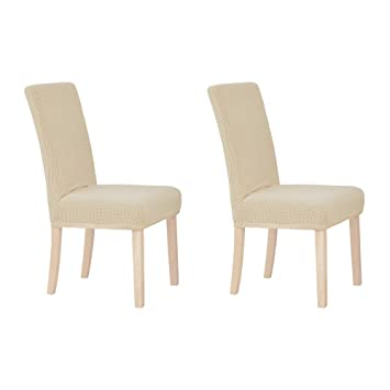 Wondrous Deconovo Modern Elastic Spandex Parson Chair Slipcovers Easy To Clean Stretch Chair Covers For Dining Room Set Of 2 Beige Andrewgaddart Wooden Chair Designs For Living Room Andrewgaddartcom