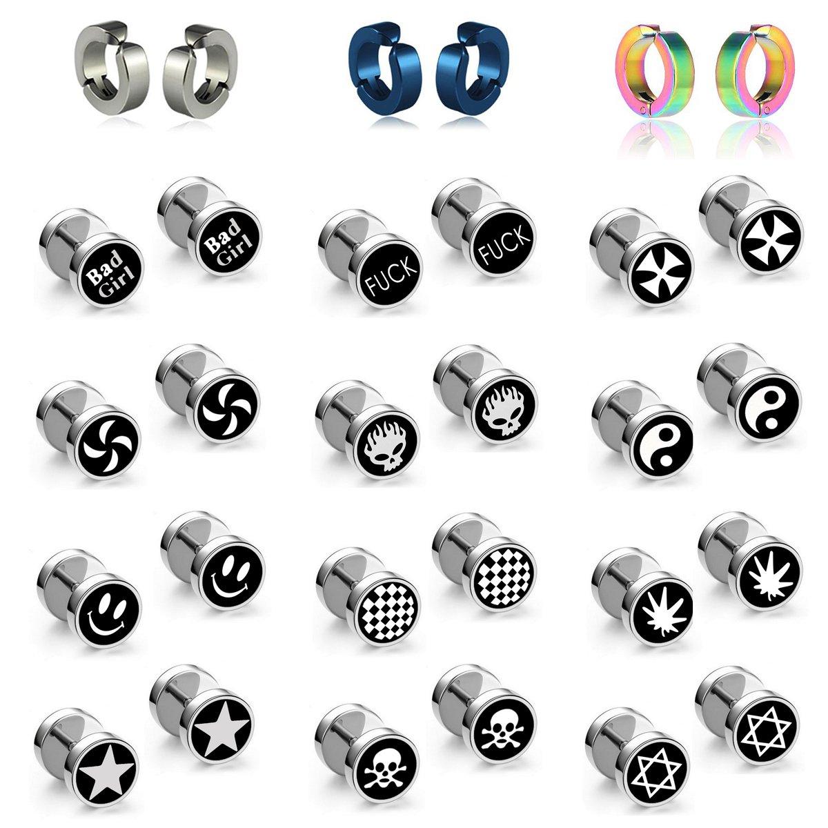 15 Paris Stainless Steel Ear Piercing Plugs and Non-pierced Mens Womens Hoop Earrings Bad Girl,Smile,Hexagram,Skull Black Punk Earrings Studs with Screw Back (12 Ear Plugs and 3 Non-pierced)
