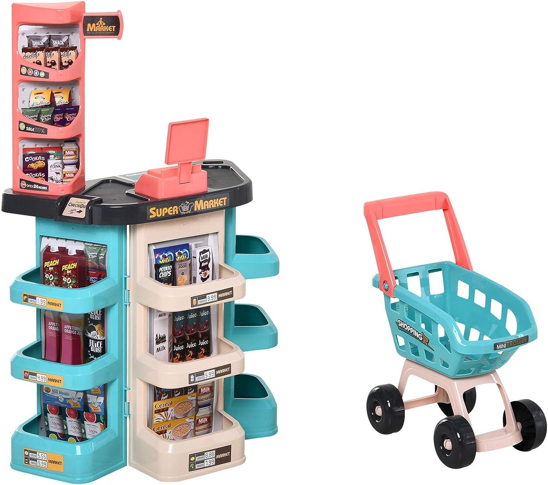 HOMCOM Juguetes de Supermercado para Niños de +3 Años Juego de Imitación de 52 Piezas con Carrito de Compra Sonido y Luz Lector de Tarjetas de Crédito 53x34x79cm Verde