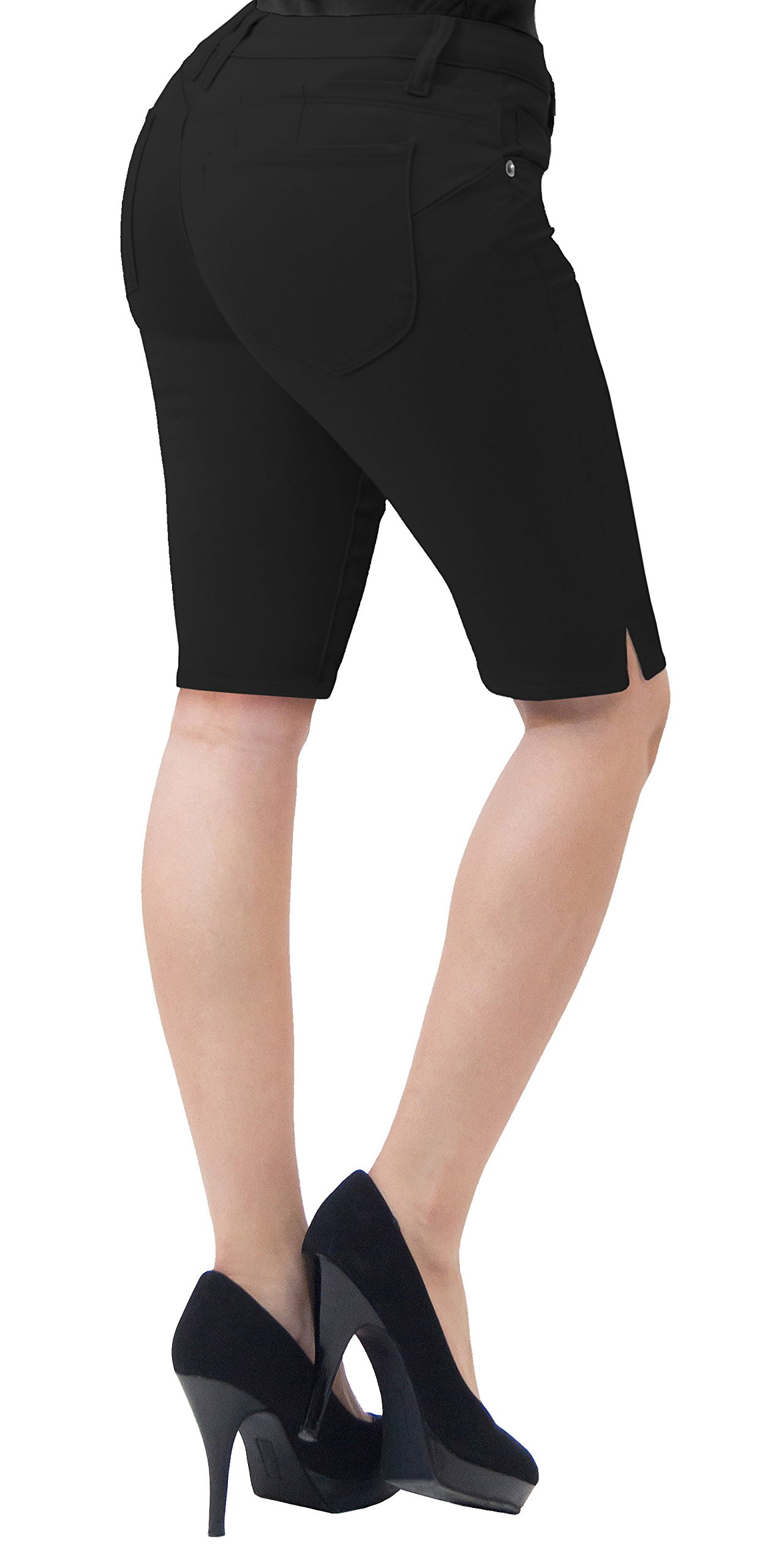 HyBrid & Company Super Comfy Stretch Bermuda Shorts B43300X Black 18