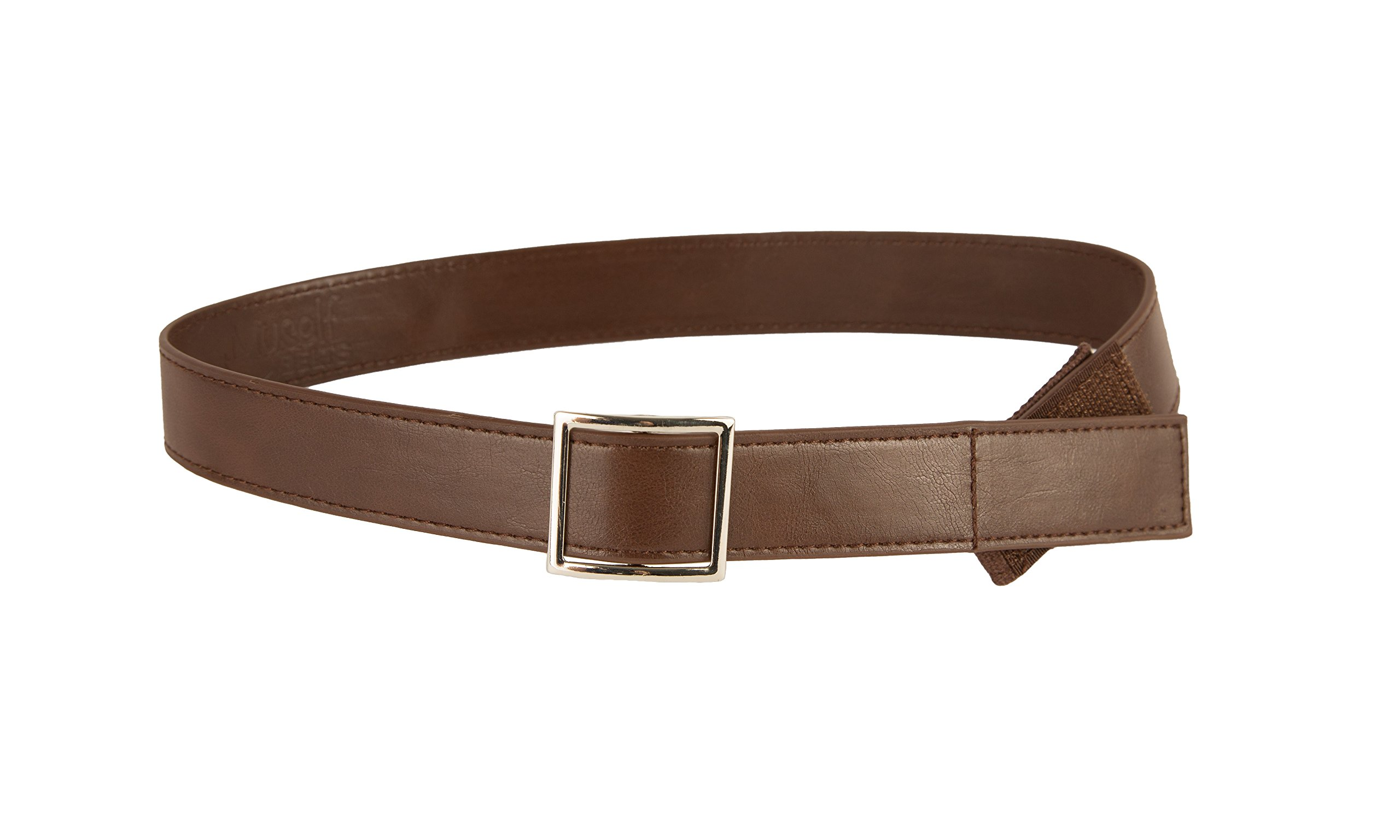 Myself Belts - Brown Leather Easy Belt with Buckle for Kids and Toddlers (5T)