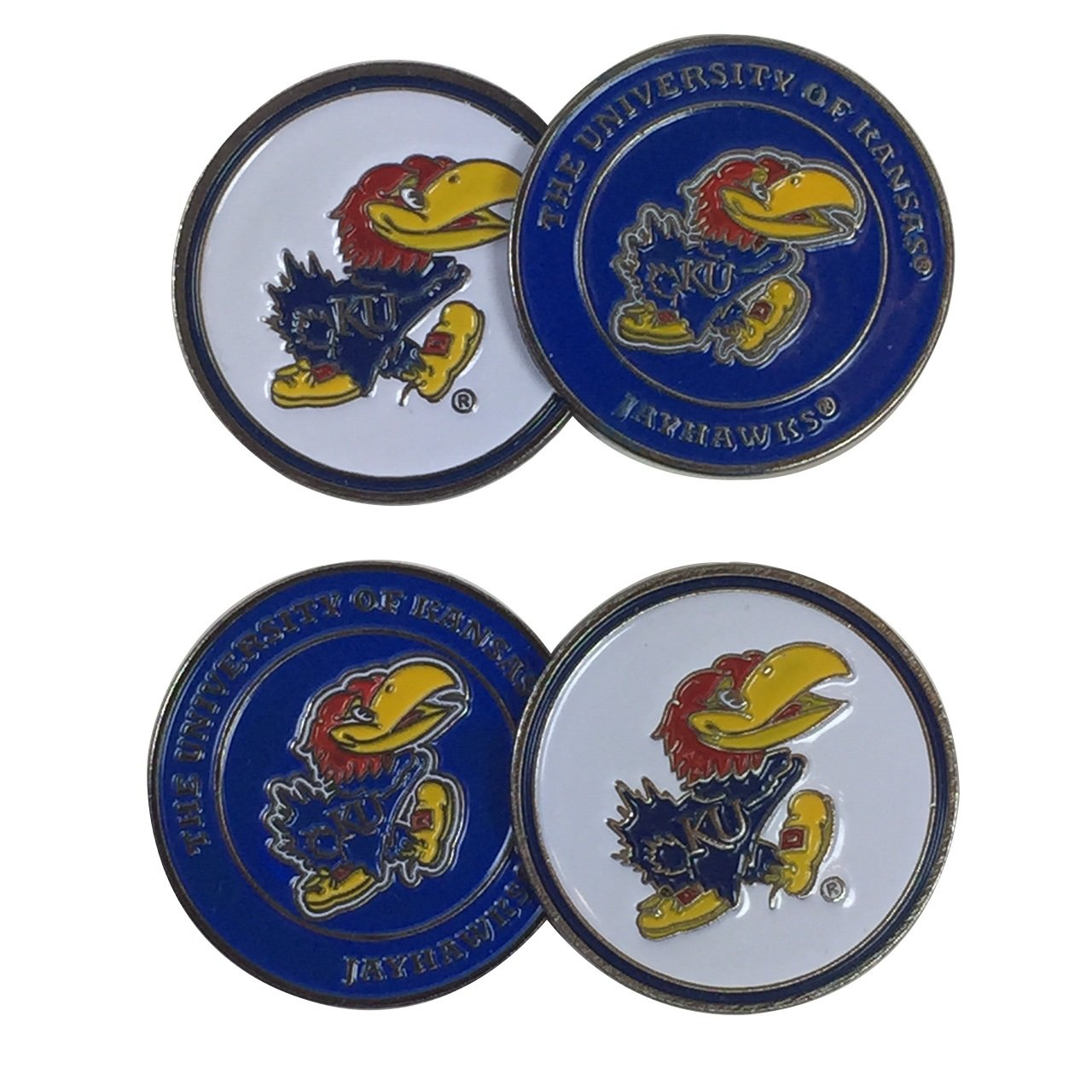 University of Kansas Jayhawks Four (4) Golf Ball Markers - 2 sided (Mascot on both sides) by Team Golf (Image #1)