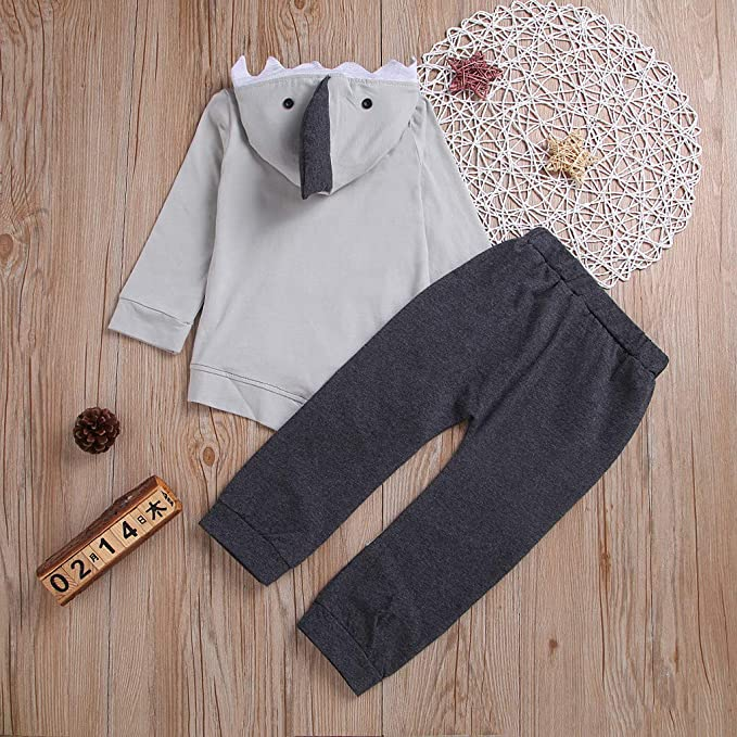 Amazon.com: Toddler Kids Baby Boys Girls Shark Hoody Kangaroo Pocket Sweatshirt Pants Set: Clothing
