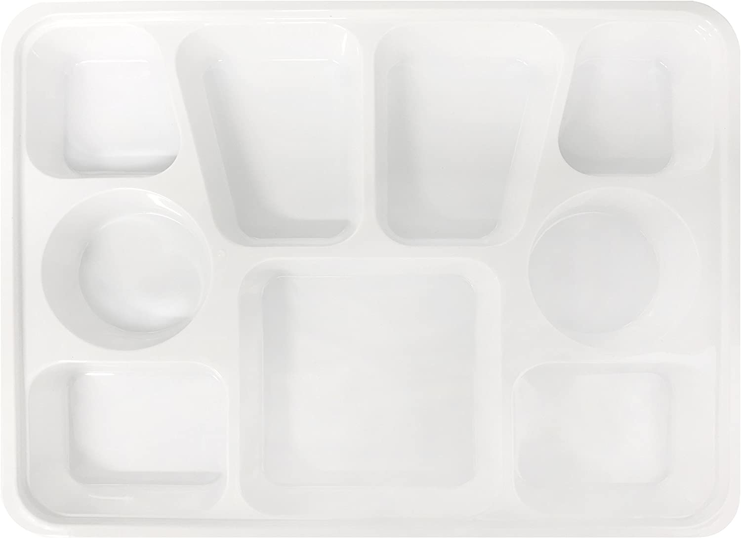Quality Disposable Plastic Rectangle Plates With 9 Compartments By Ekarro - Pack of 50 Plates
