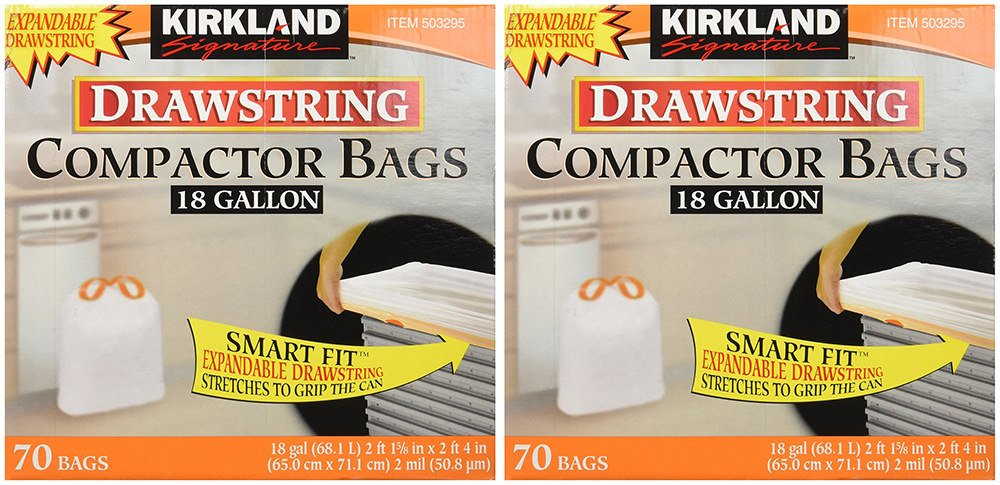 Kirkland Compactor Bags, 18 Gallon, Smart Fit Gripping Drawstring, 70 Count (2 Pack)