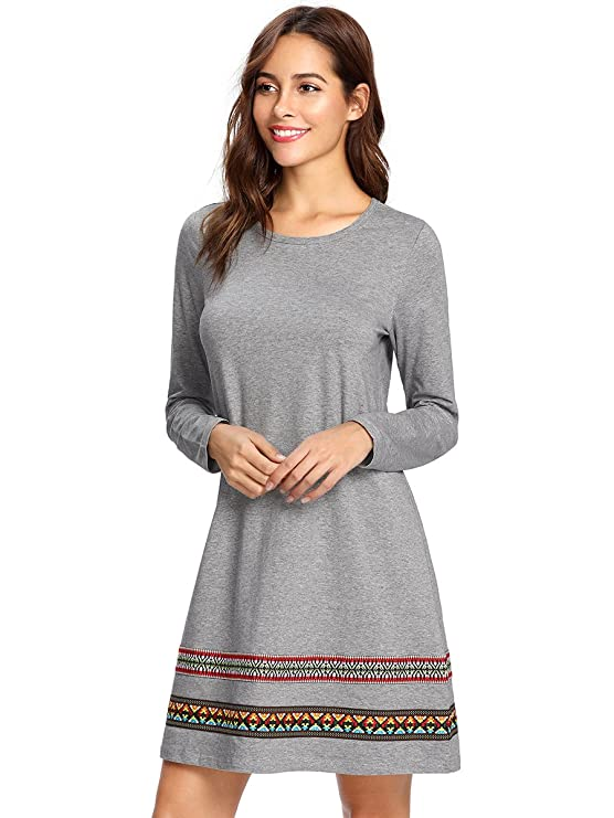 bcec1fe59 Romwe Womens Loose Dress Long Sleeve Embroidered B