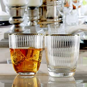 Circleware 76848 Double Old Fashioned Tiara Optic Whiskey Glasses Set of 4 Kitchen Drinking Glassware for Water, Juice, Ice Tea, Beer, Wine Bar Barrel Liquor Dining Beverage Gifts, 16 oz, Gold Rim