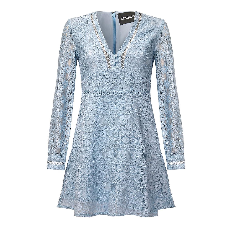 Anastasia - Boho Spitze Gefüttert Sommer kurzes Kleid,Blau