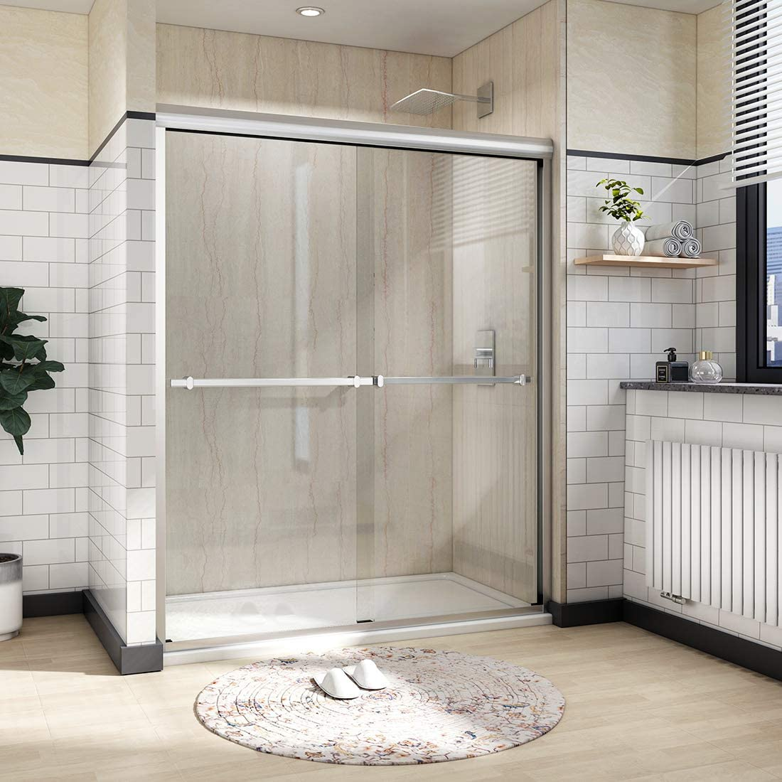 Meykoe 60 x72 Double Sliding Shower Door 1 4 Clear Tempered Glass Shower Enclosure Sliding Door – Brushed Nickel Finish