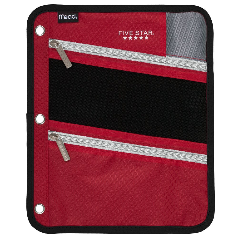 Five Star Zipper Pouch, Pencil Pouch, Pen Holder, Fits 3 Ring Binders, Red / Gray (50642BE7)