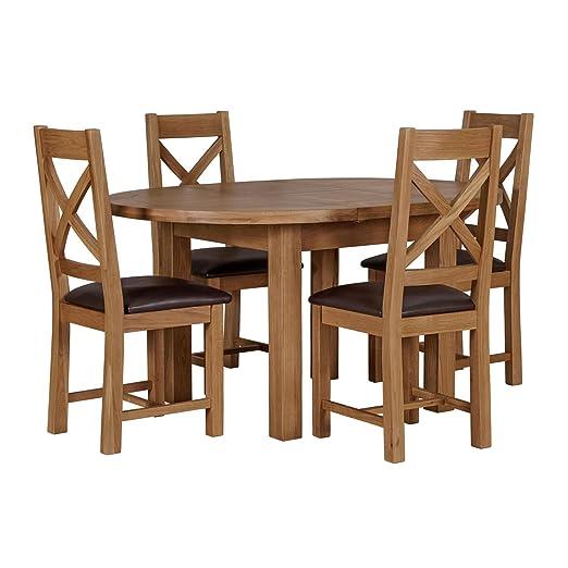 Cotswold Mesa de comedor de roble macizo, tamaño mediano ...
