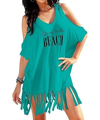 L-Peach Damen Pareo Bikini Cover Up Sommer Lose Baumwolle V-Ausschnitt Tunika Langes Shirt /Überwurf Strandkleid Sommerkleid One Size