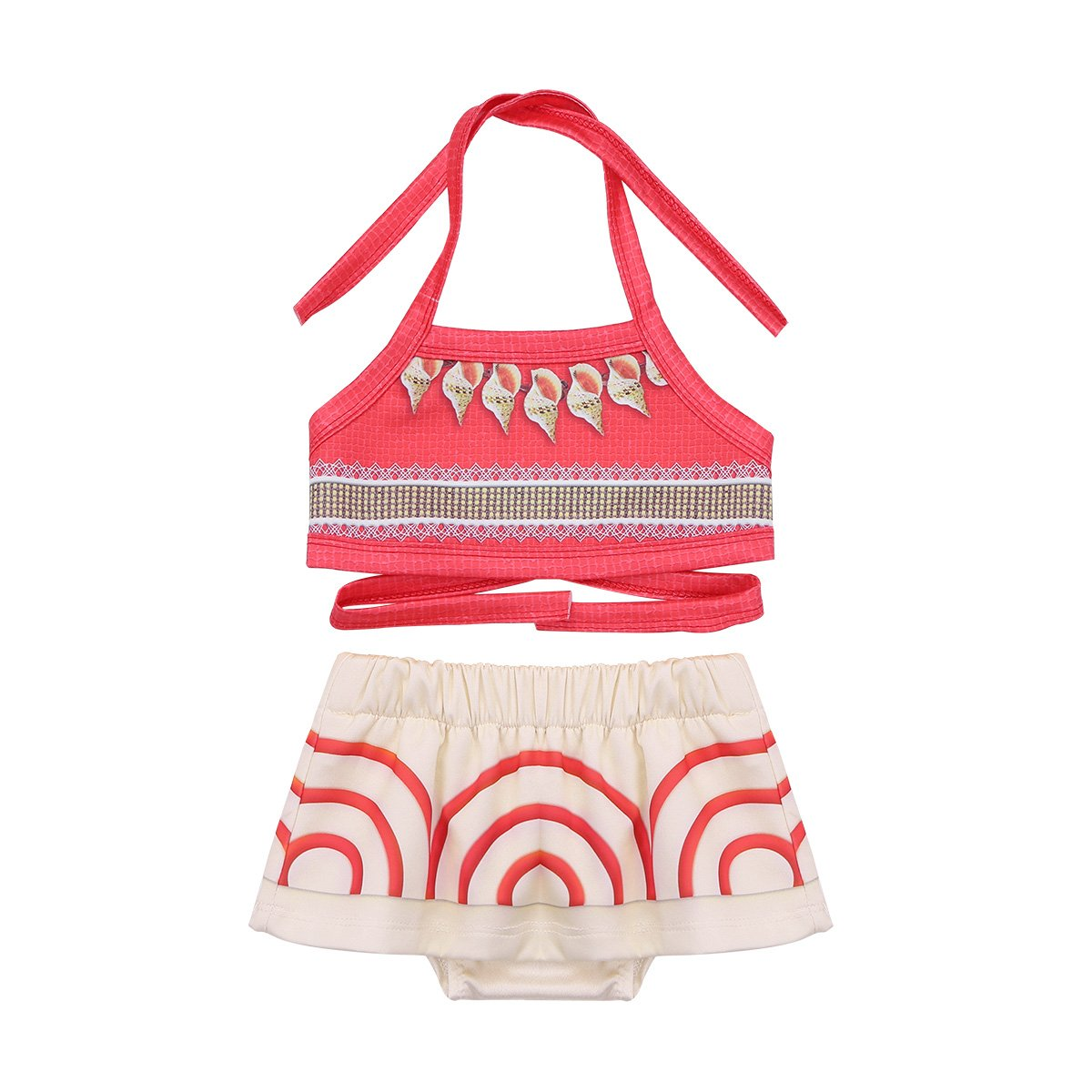 FEESHOW Baby Little Girls Moana Swimsuit Halter Tankini Bathing Suit Adventure Outfit Swimwear Fancy Costumes Red 12-18 Months