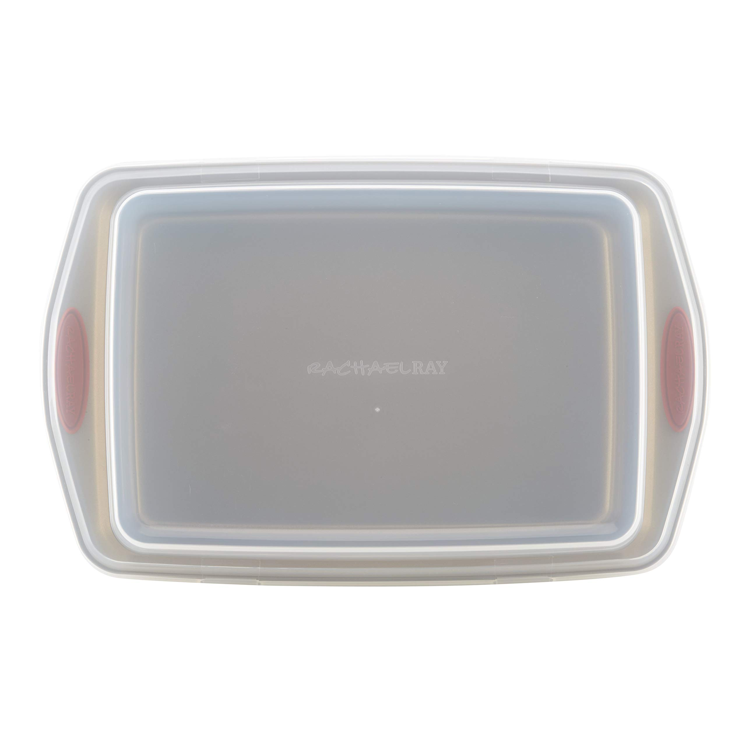 Rachael Ray Cucina Nonstick Bakeware 9-Inch by 13-Inch Covered Rectangle Cake Pan, Latte Brown with Cranberry Red Handles by Rachael Ray (Image #3)