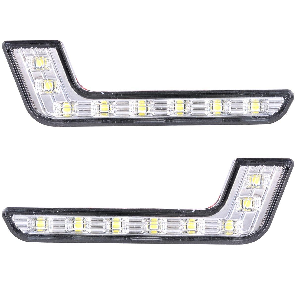 XCSOURCE 2pcs 8-LED White LED DRL Daytime Running Light L Shape Front Fog Light for Mercedes-Benz MA145