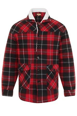 Bruno Galli Mens Check Fleece Lumberjack Jacket Red Xx Large