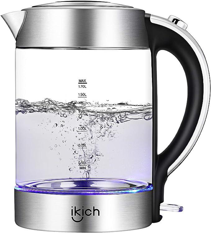 Electric Kettle, IKICH 1.7L BPA-Free Glass Kettle Tea Heater