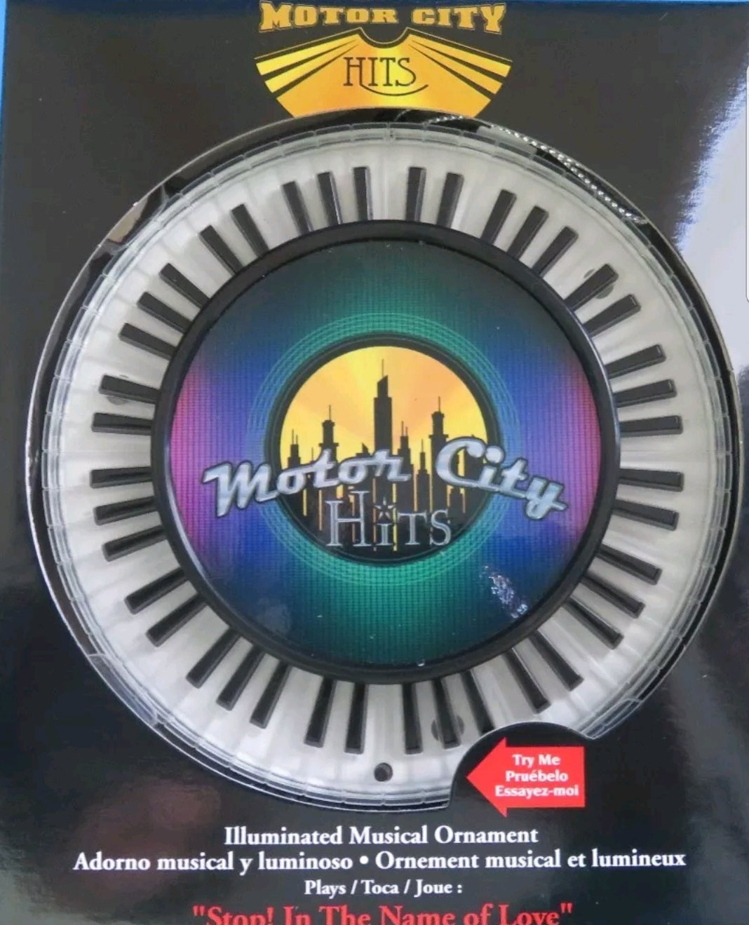 Motor City Hits Stop in the Name of Love by the Supremes Illuminated Musical Christmas Tree Ornament Motown