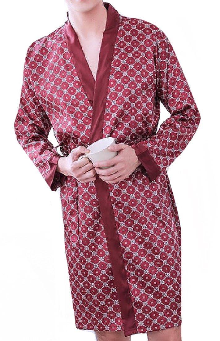 SportsX Men Luxurious Knee Length Imitated Silk Patterned Wrap Robe