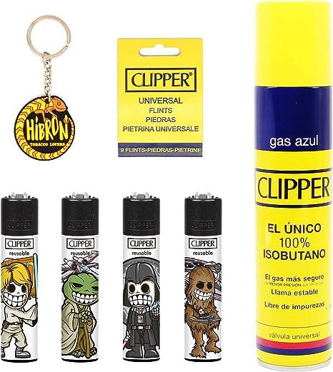 Image of Clipper 4 Mecheros Encendedores Diversos Surtidos Bonitos Baratos,1 Carga Gas Encendedor Clipper 300 Ml,9uds De Piedra Clipper Y 1 Llavero Hibron Gratis 1-10003-7