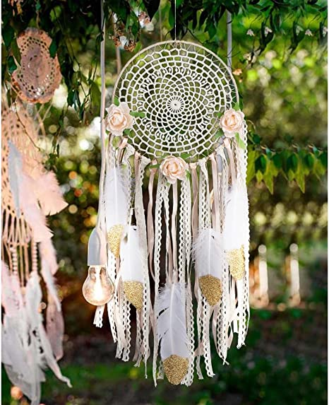 QTY 2 Large White Dream Catcher Handmade String Feather Car Wall Home Decor
