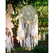 AerWo Boho Dream Catchers Handmade White Gold Feather Dreamcatchers with Flowers for Wall Hanging Decoration, Wedding Decoration Craft (Dia 7.8  Length 20 )