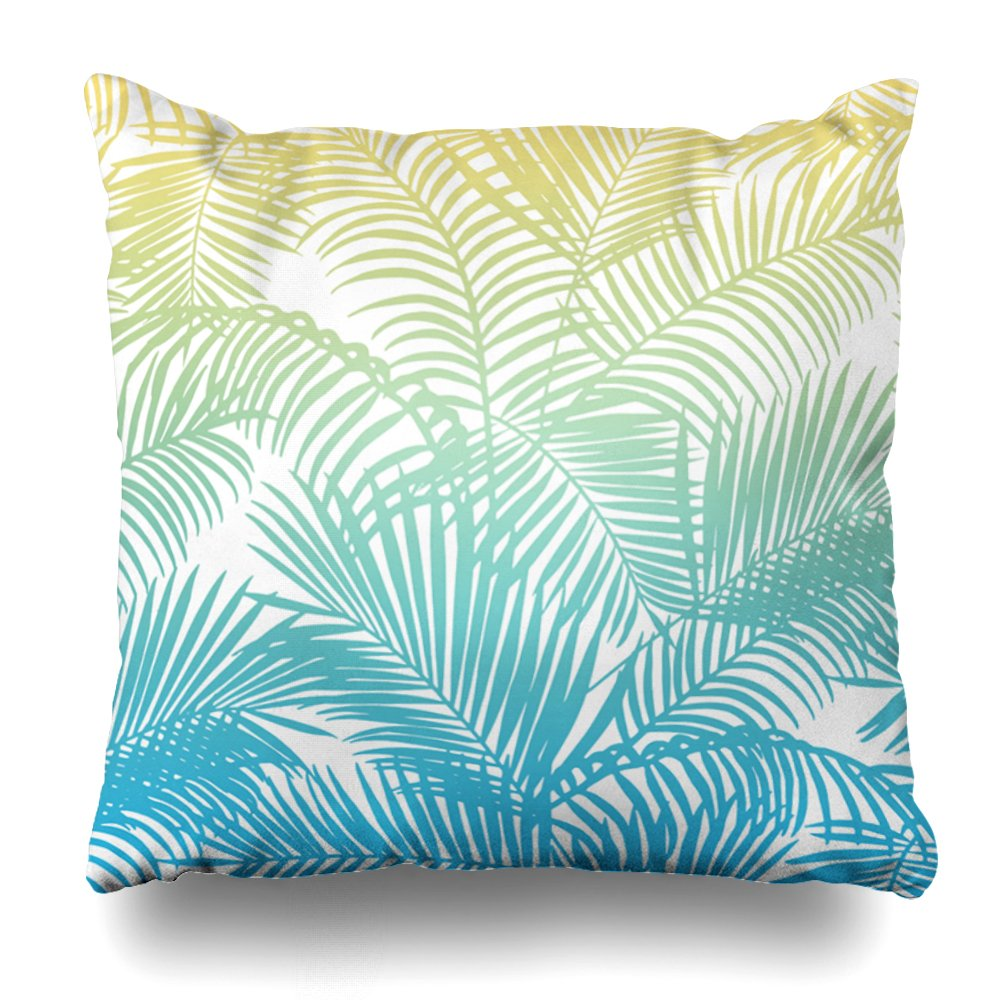 Soopat Decorative Pillow Cover 18''X18'' Two Sides Printed Modern Teal Yellow Tropical Palm Trees Pattern Bandana Throw Pillow Cases Decorative Home Decor Indoor Nice Gift Kitchen Garden by Soopat (Image #1)