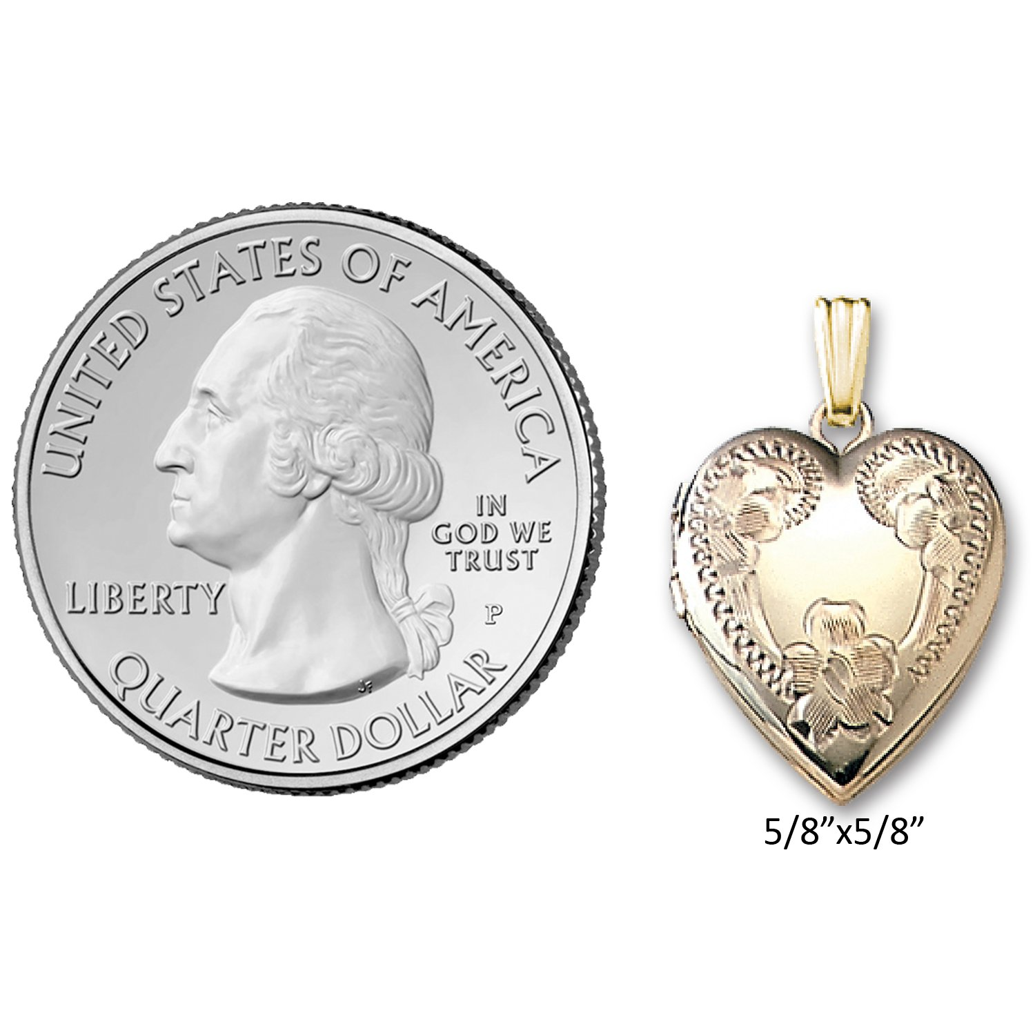 5//8x5//8 Genuine 14K Yellow Gold Heart Shaped Locket with Engraved Flower Design