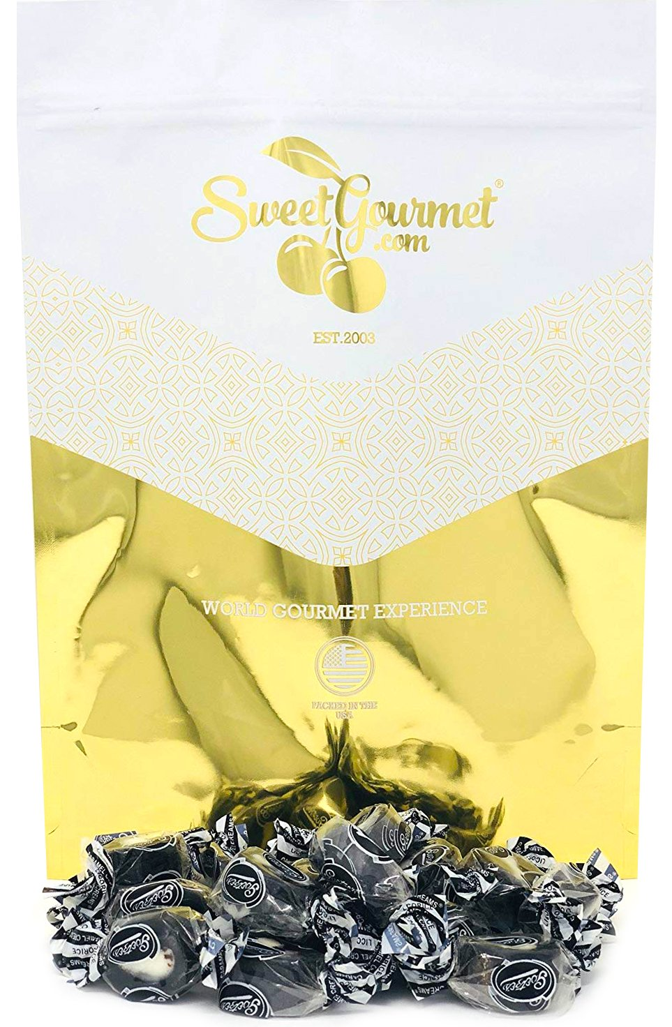 Licorice Caramel Creams | Retro Candy Bulk | Chewy Licorice Caramel & White Cream Center | 5 Pounds by SweetGourmet