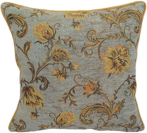 pillowerus Chenille Yellow Orange Floral Blue 18 x18 Pillow Case Cushion Cover Sham Satin Back