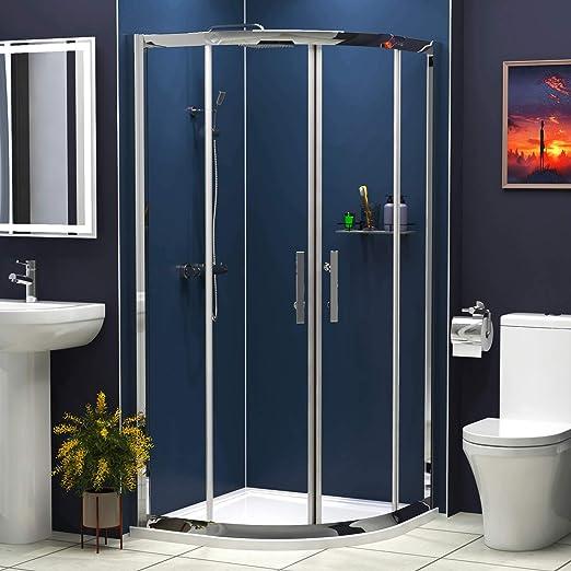 6 mm cristal doble puerta corredera Walk en cuadrante ducha ...