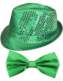 ST PATRICKS DAY GREEN SEQUIN FEDORA   TRILBY AND GREEN SATIN BOW TIE SET  PERFECT FOR 181cf5e69652