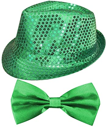 af0457fe2bc36d ST PATRICKS DAY GREEN SEQUIN FEDORA / TRILBY AND GREEN SATIN BOW TIE SET  PERFECT FOR