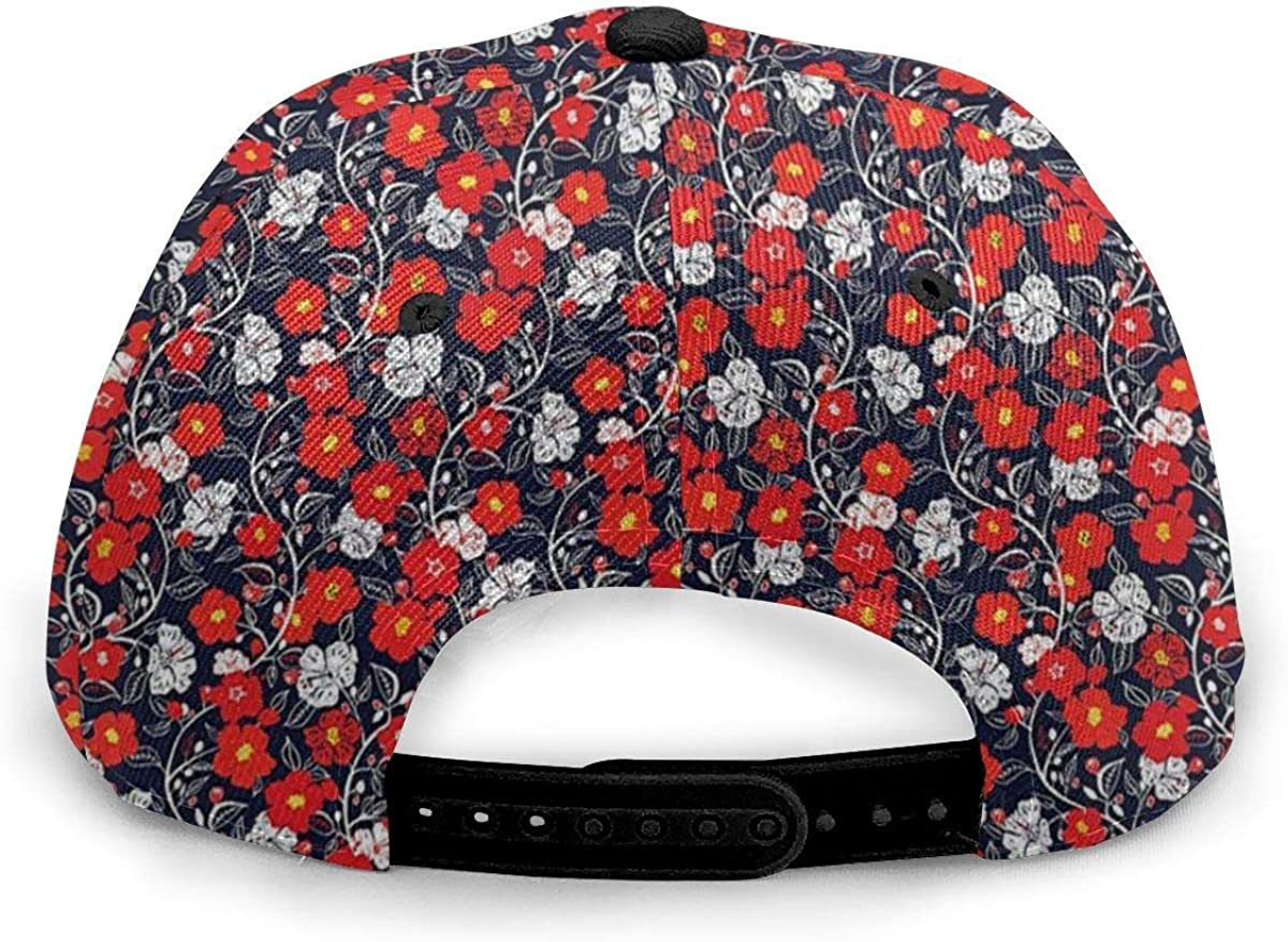 Spring Blooming Petals Dark Blue Vermilion Yellow Lightweight Unisex Baseball Caps Adjustable Breathable Sun Hat for Sport Outdoor