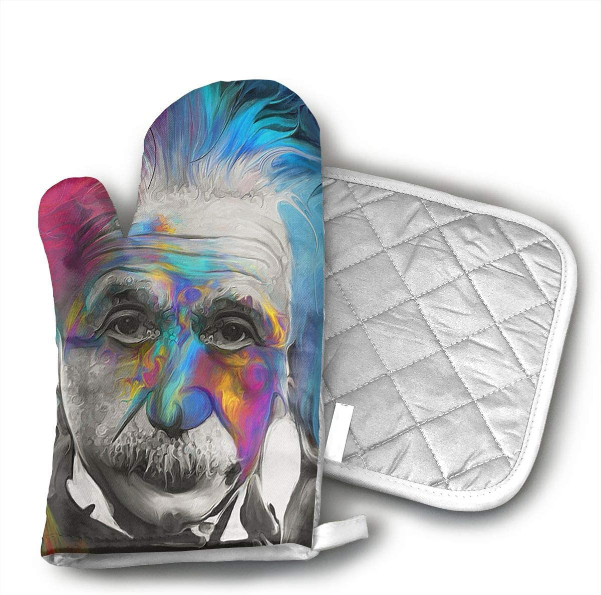 TRENDCAT Albert Einstein Art Oven Mitts and Potholders (2-Piece Sets) - Extra Long Professional Heat Resistant Pot Holder & Baking Gloves - Food Safe