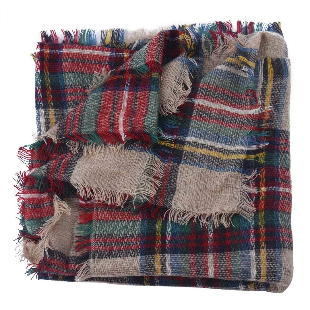 Coloris Edition Soft Blanket Scarf for Women Stylish Winter Warm Plaid Shawl Oversize Cozy Cashmere Womens Scarves