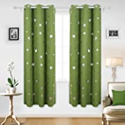 Deconovo Blackout Curtains Sliver Star Print Solid Thermal Insulated Blackout Curtain 42 X 84 Inch Green One Pair