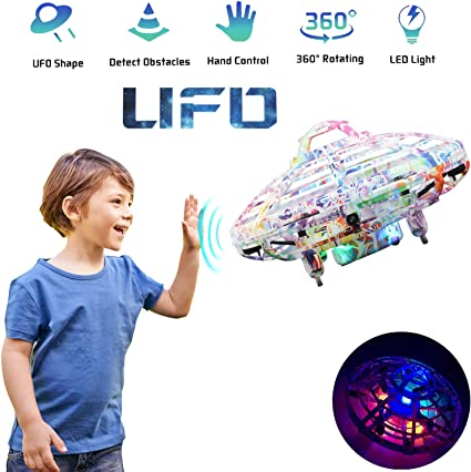 Hand-Controlled Flying Ball Infrared Induction Interactive Mini Drone Helicopter with LED Lights and Gold Flying Toys for Boys or Girls Wasatuo Hand Operated Drones for Kids or Adults