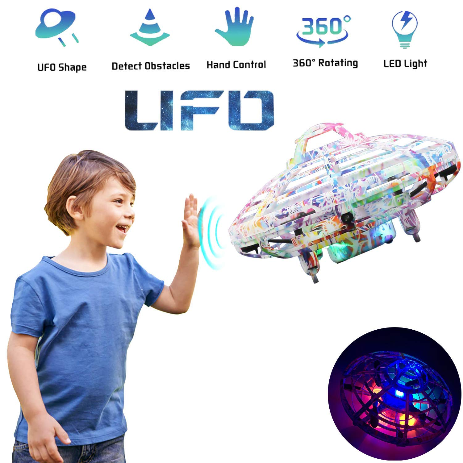 Flying Ball Toy, Cool UFO Hand-Controlled Drone Quadcopter Flying RC Toy for Boys Girls Valentines Gift,Colorful Flashing LED Lights Interactive Infrared Induction Helicopter Ball with 360Rotating by FUNSEA (Image #1)