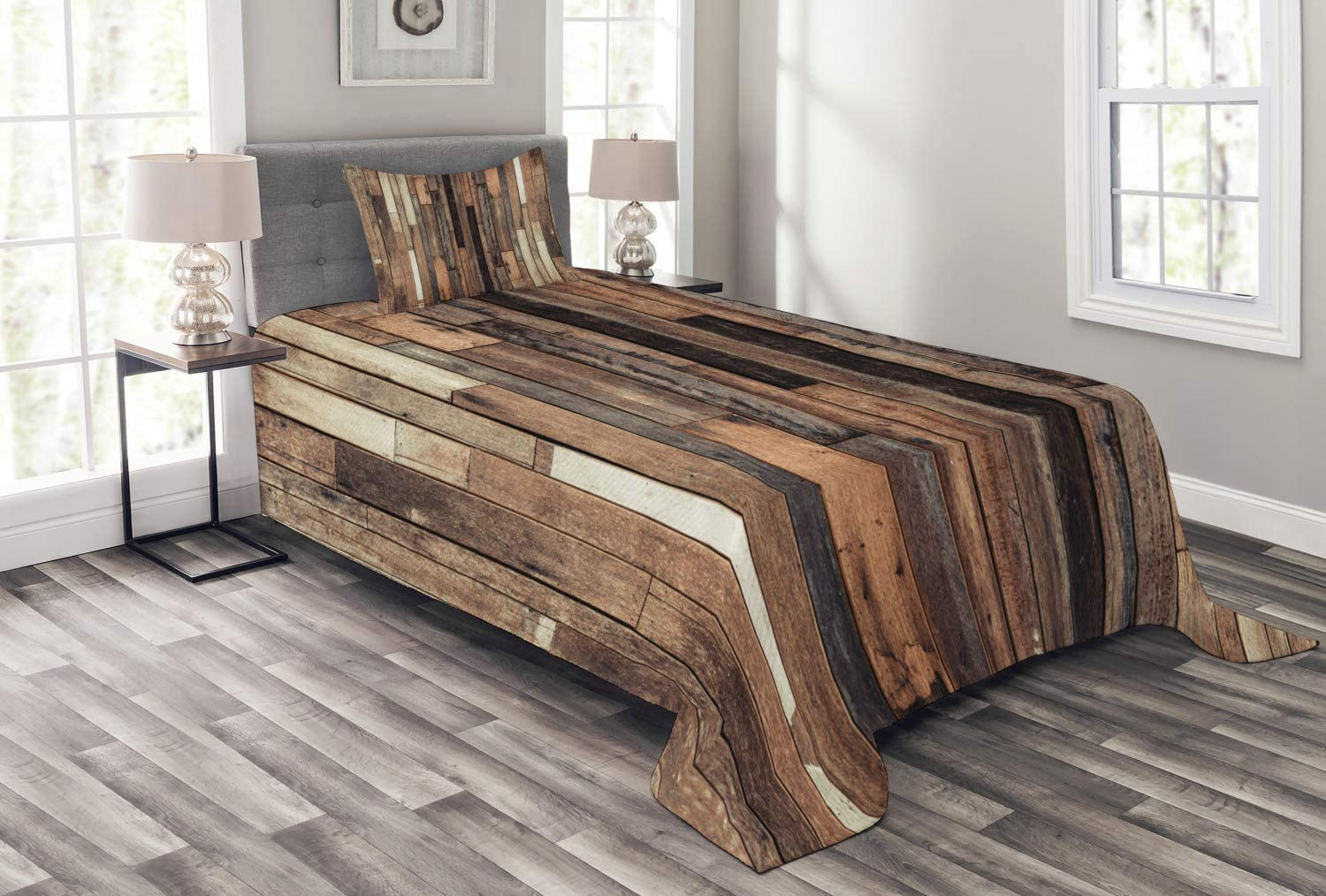 Ambesonne Wooden Bedspread Set Twin Size, Brown Old Hardwood Floor Plank Grunge Lodge Garage Loft Natural Rural Graphic Artsy Print, 2 Piece Decorative Quilted Coverlet with 1 Pillow Sham, Brown