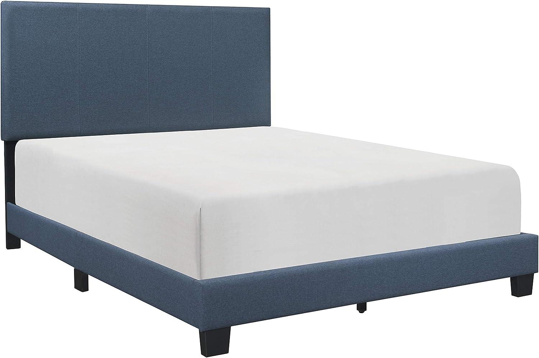 Lexicon Upholstered Panel Bed, Full, Blue