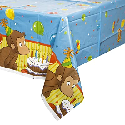 """Curious George Plastic Tablecloth, 84\"""" x 54\"""": Toys & Games [5Bkhe0703068]"""