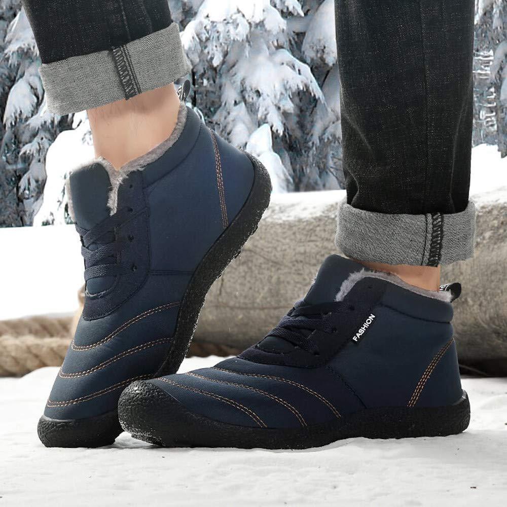 Hunzed Men【Waterproof Warm Shoes】 Men Winter Fur Lined Warm Ankle Booties Slip-On Lightweight High Top Outdoor Shoes