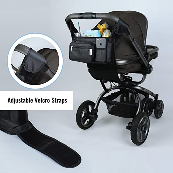 Cloth Bib Storage Bottle Adjustable Velcro Strap Easy-to-Clean Polyester Bag with 2 Insulated Cup Holders Toy Detachable Pouch Abebez Stroller Organizer Snack Universal Fit on Handle Bars