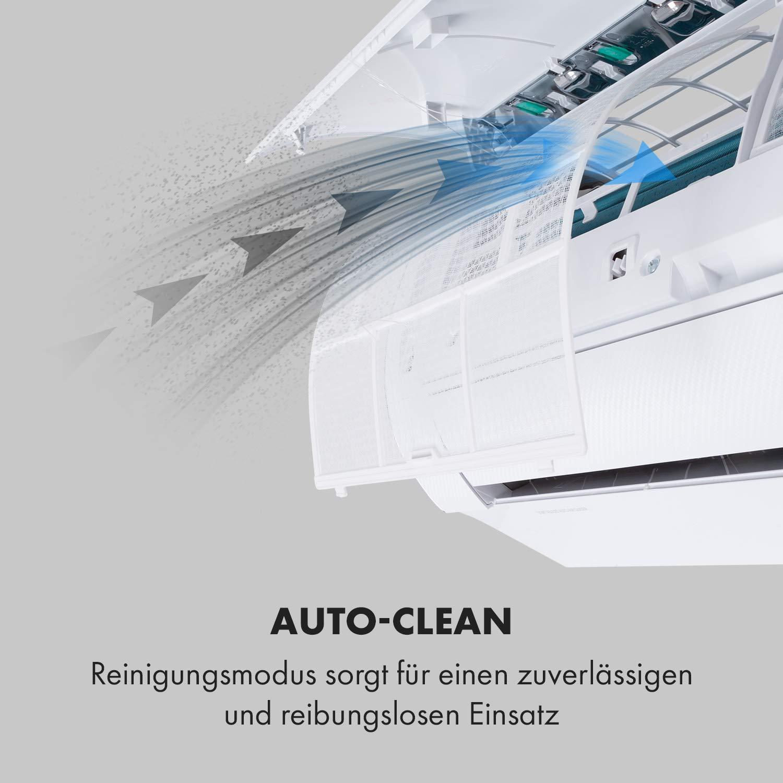 Klarstein Windwaker Eco Split-Klimaanlage /• 9.000 BTU//h und K/ühlger/ät /• selbstreinigend /• Energieeffizienzklassen /• 5 Betriebsmodi /• 3 Schlafmodi 610 m/³//h /• Heiz 2637 Watt /• Luftstrom A++//A