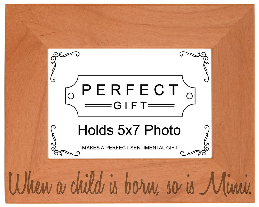 Mother's Day Gift Child is Born So is Mimi Natural Wood Engraved 5x7 Landscape Picture Frame Wood