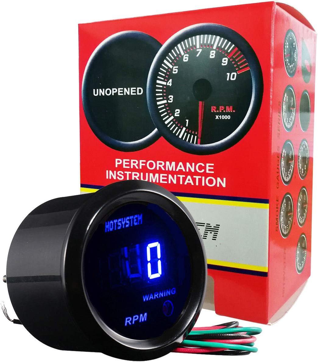 Etopars/™ 2 52mm Black Car Auto Digital Blue LED Light Tacho Tachometer LED Gauge Meter