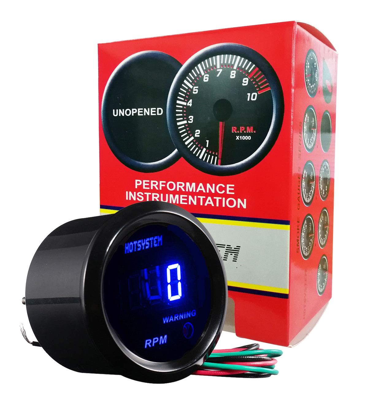 HOTSYSTEM New Universal Electronic Tachometer Tacho Gauge Meter Blue Digital LED 2inches 52mm 0-9999 RPM for 4 6 8 Cylinder Car Vehicle Automotive by HOTSYSTEM