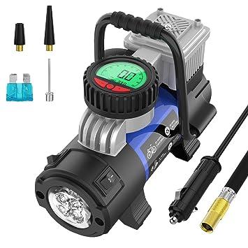 Mbrain Compresor 12 V – Pequeño Portátil Digital Aire Bomba Aire Compresor neumático Bomba Inflador de